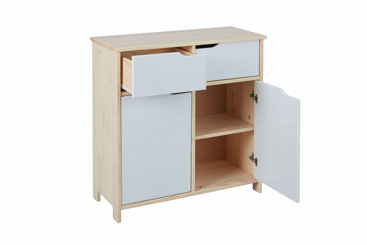 Kommode 2 Schubladen 2 Türen Farb- Materialmix Weiß