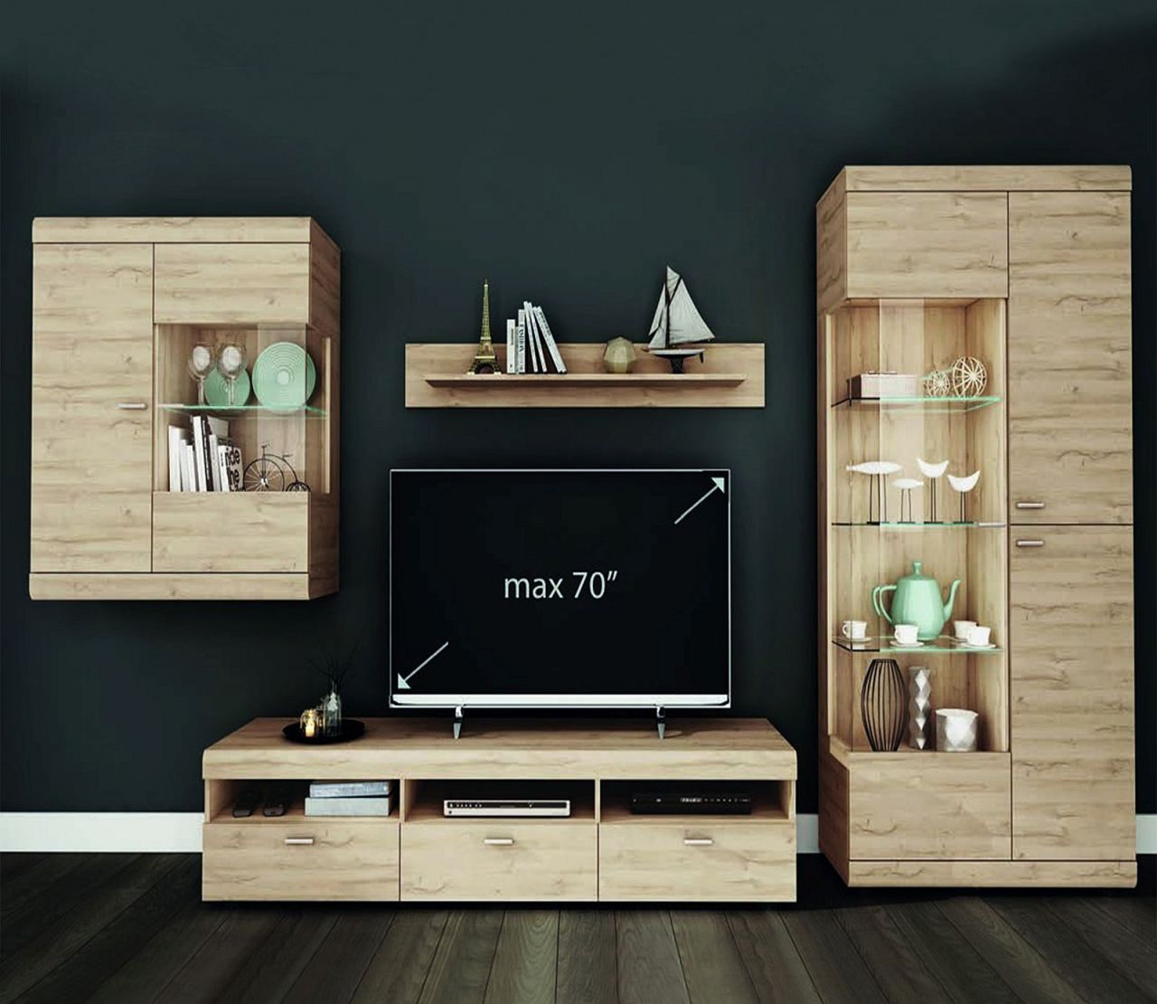 wohnwand led beleuchtung 2 farben hochglanz wei grandson oak eiche hell schrankwand f like. Black Bedroom Furniture Sets. Home Design Ideas