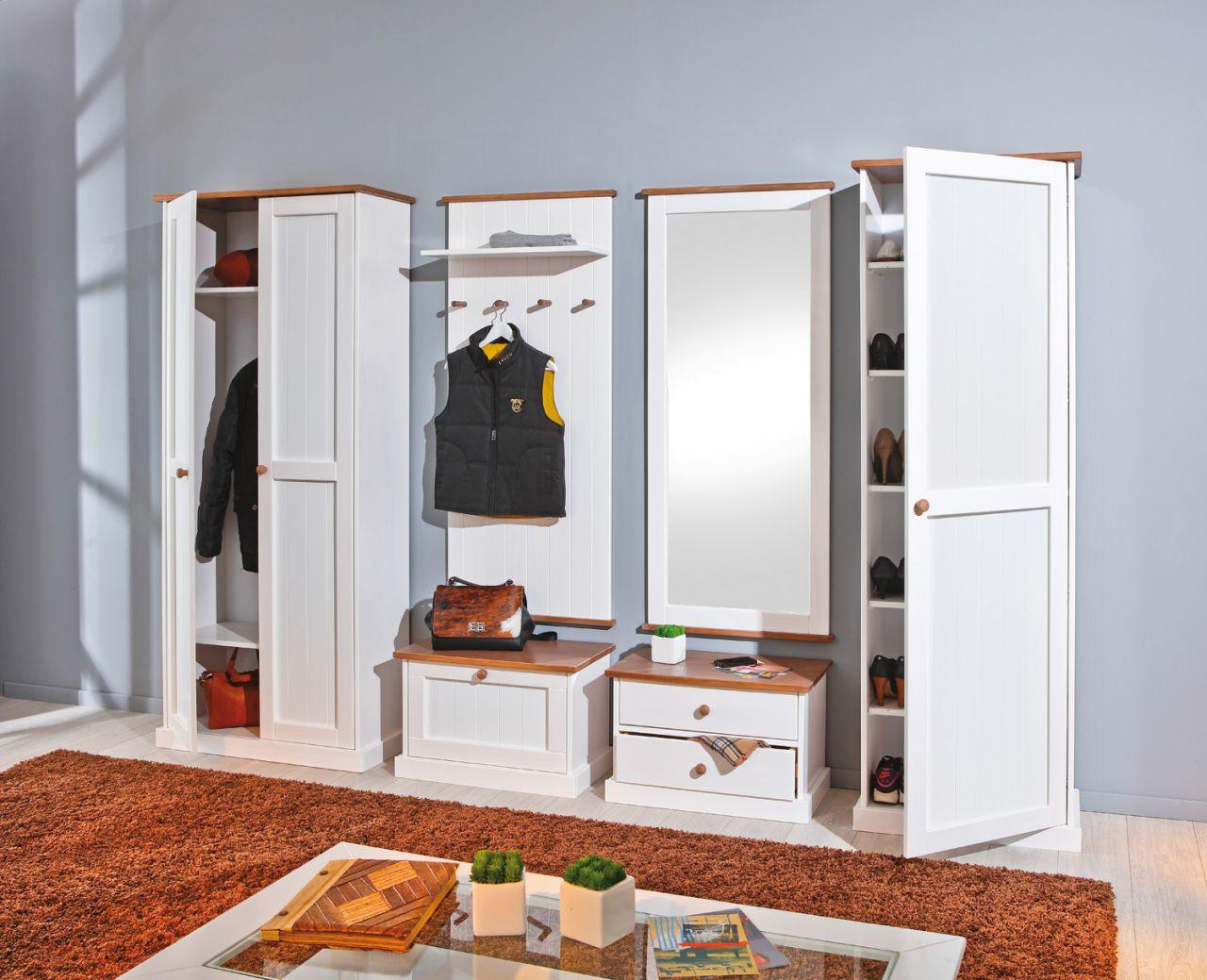 6 tlg. garderobe garderobenset landhausstil massivholz 2-farbig