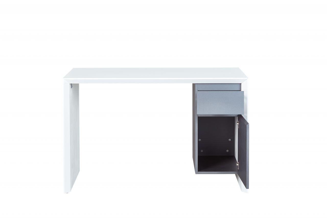 Schreibtisch 1 Schublade 1 Tür 120 X 50 Cm Hochglanz Weiß Grau L Mex