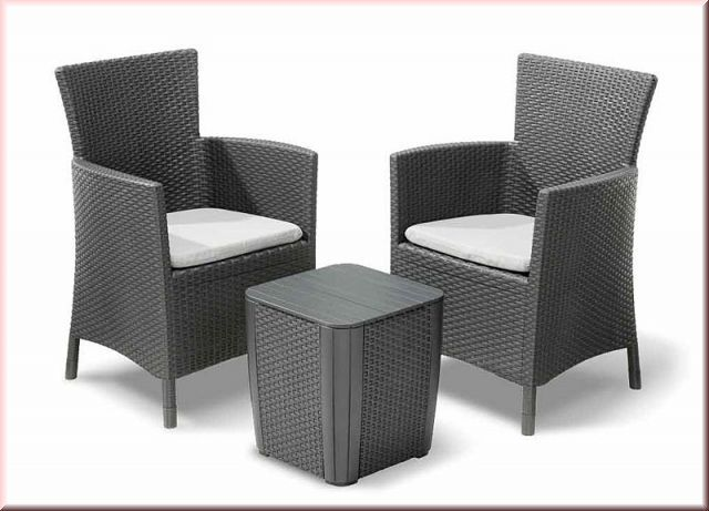 3 tlg lounge sitzgruppe kissen 2 sessel tisch aufbewahrungsbox balkon set rattan optik bf nizza. Black Bedroom Furniture Sets. Home Design Ideas