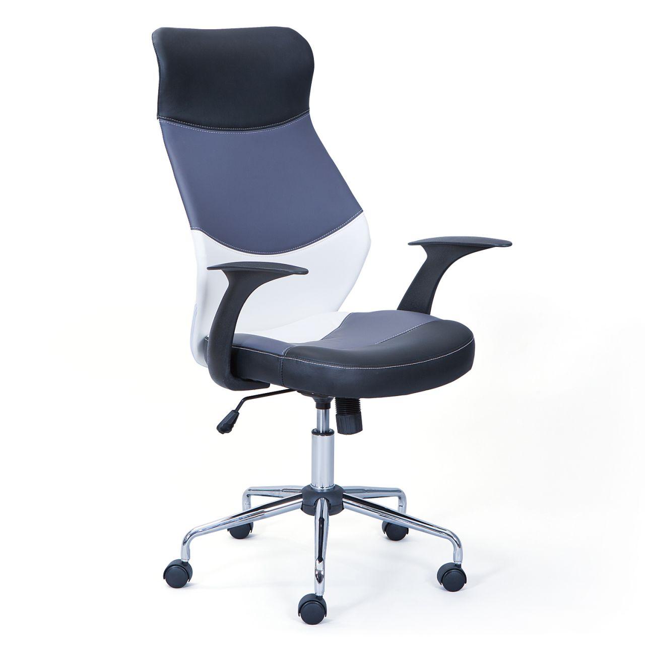 Schreibtischstuhl Burostuhl Weiss Grau Schwarz Hohenverstellbar