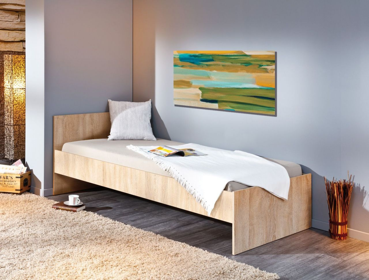 Liebenswert Bett Einzelbett Foto Von Jugendbett 2 Farben Sonoma Weiß 90 X