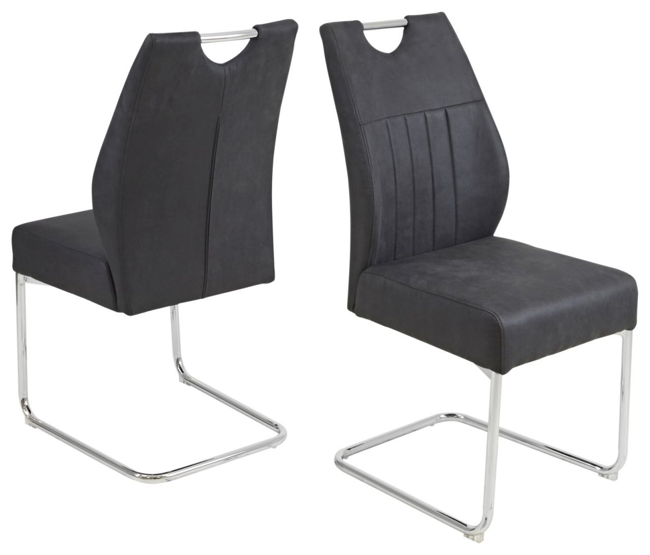 4er Set Freischwinger Stuhl Federkern Polsterung Vintage Farben Beige Anthrazit Verchromt R Mainau S Kaufen Bei Eh Mobel