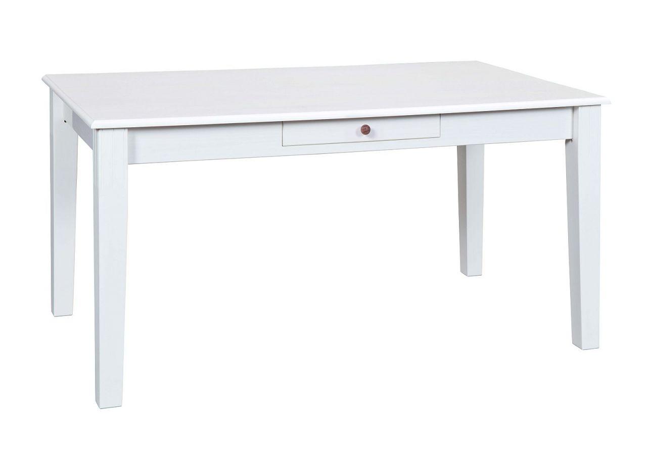Beeindruckend Esstisch Massivholz Weiß Foto Von Tisch Erweiterbar Rechteckig Stil Weiß Holzmaserung Sichtbar