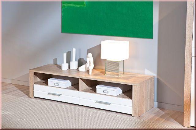 TV Lowboard 150 x 40 cm 2 Farben Sonoma-Eiche-Hochglanz weiß ...