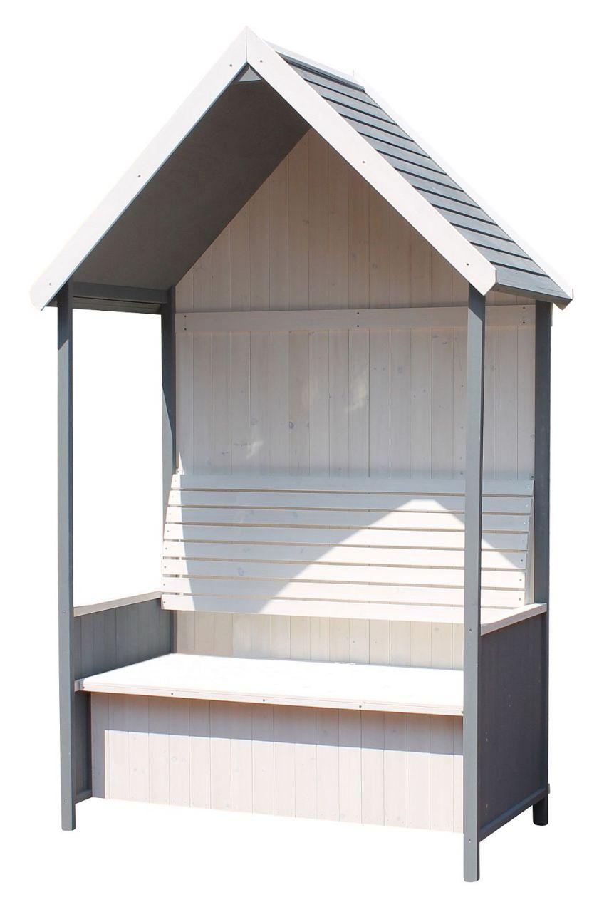Gartenlaube Gartenbank inkl. Truhe Dach Massivholz weiß grau 137 x 75 x 224  cm LC-Amsterdam