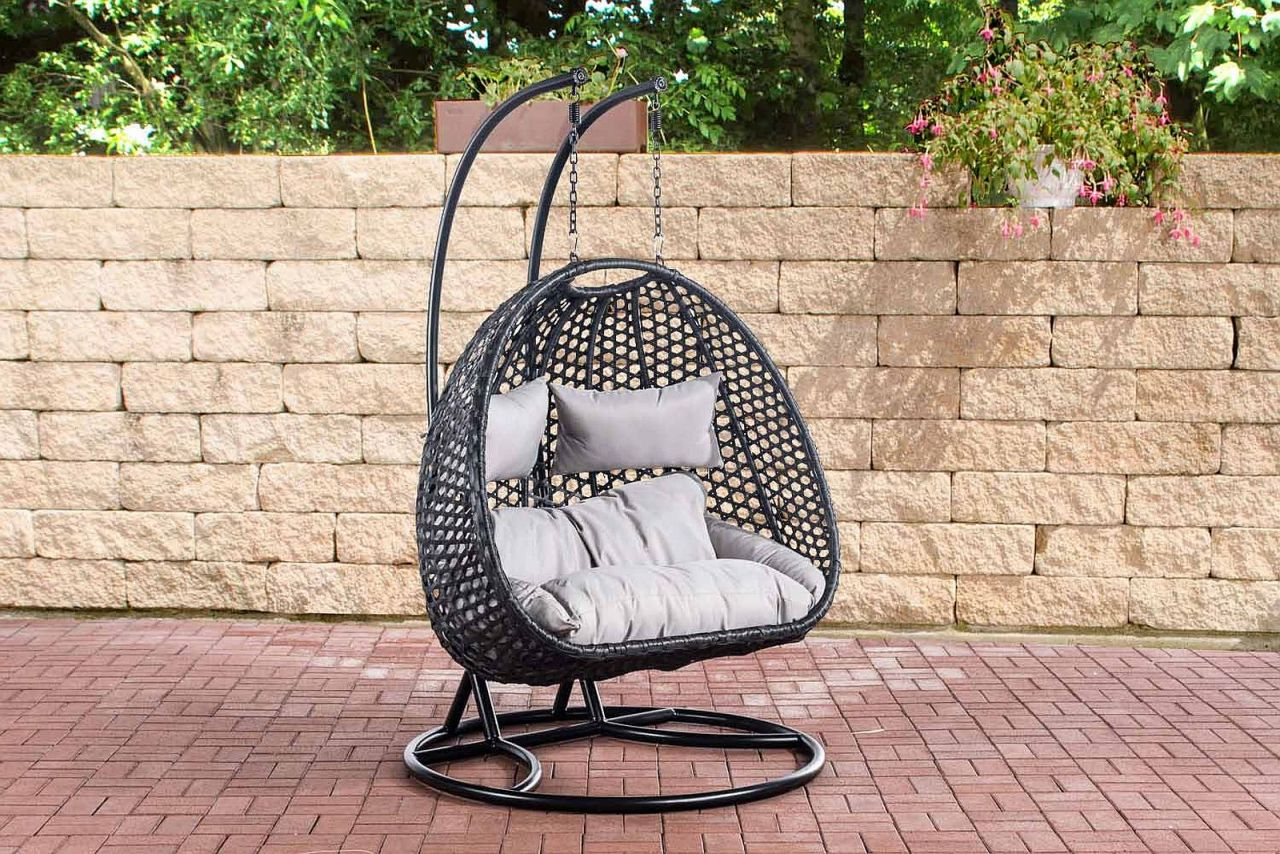 2 sitzer h ngestuhl sonnenschaukel 2er h ngesessel stahlrohrgestell polyrattan schwarz cl bora. Black Bedroom Furniture Sets. Home Design Ideas