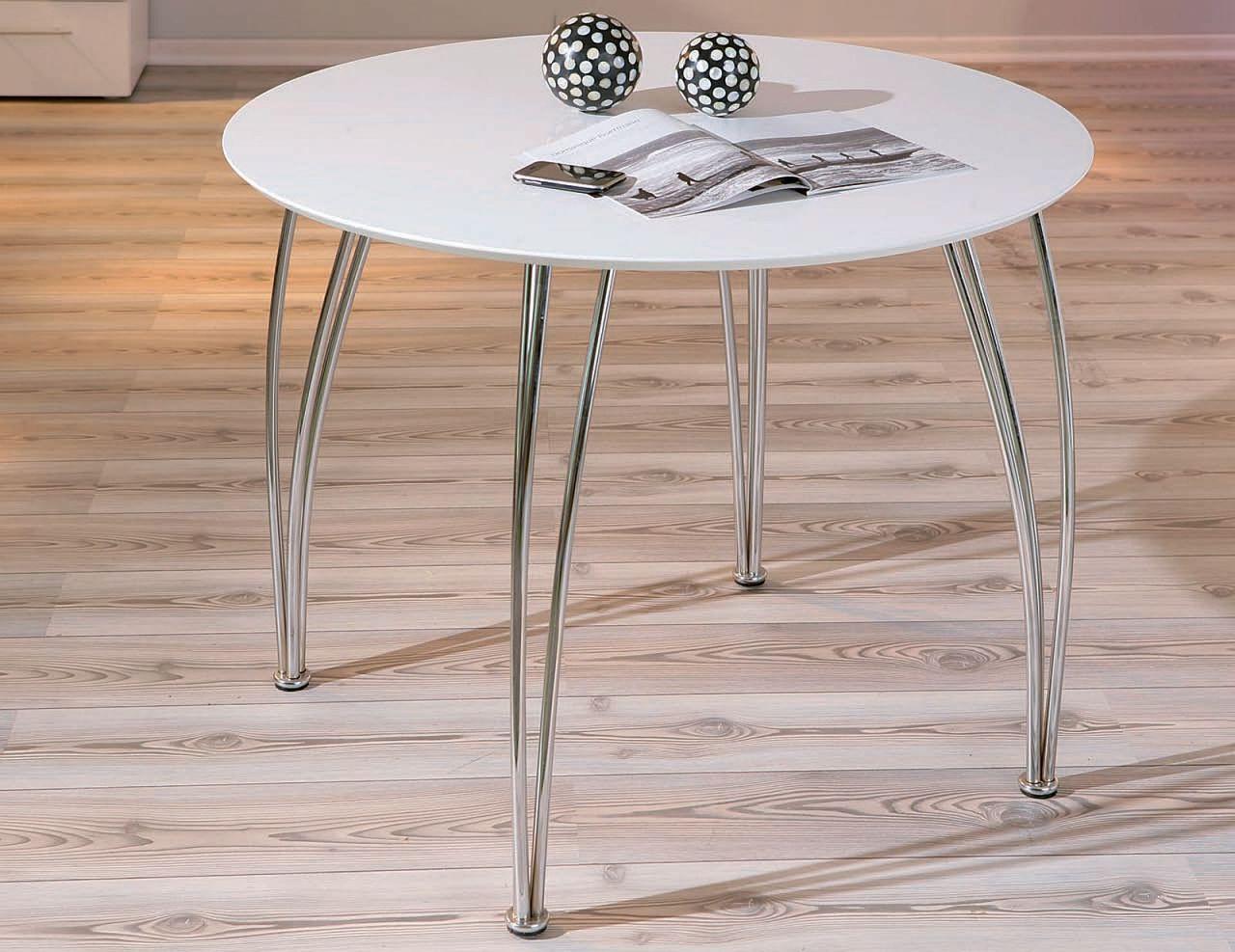 tisch esstisch rund 100 matt wei gestell chrom l cely kaufen bei eh m bel. Black Bedroom Furniture Sets. Home Design Ideas
