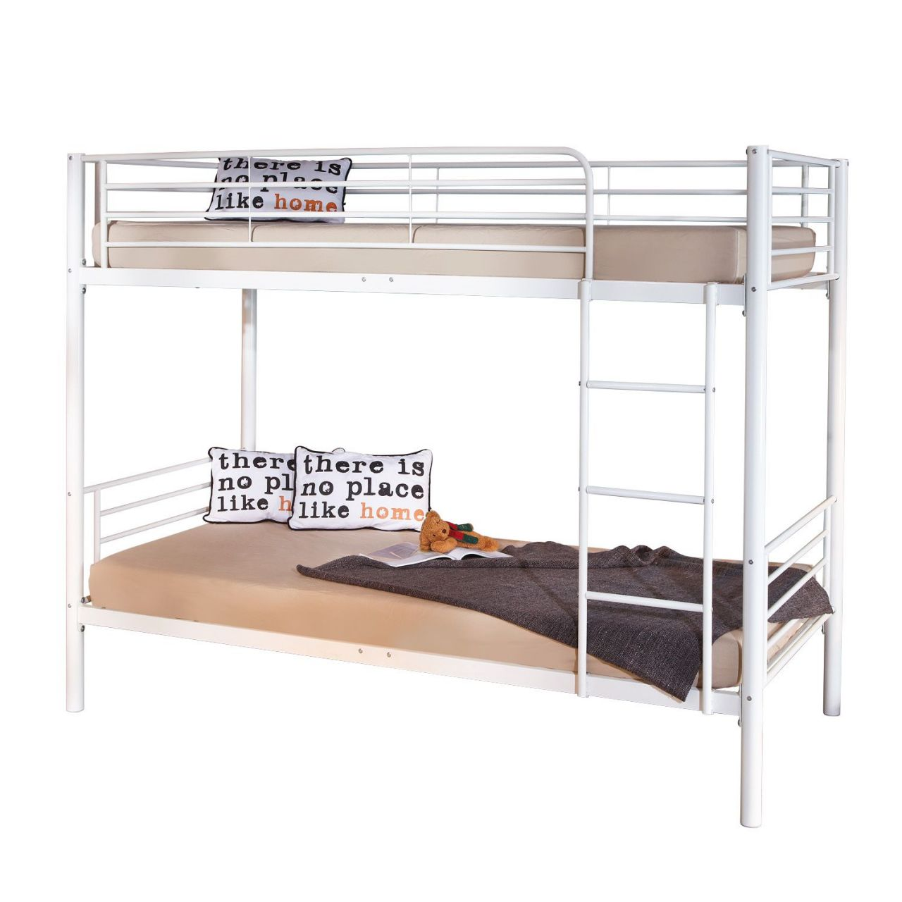 Bett weiß metall  Etagenbett Bett Metall weiß Leiter Lattenroste Absturzschutz L-Emil ...
