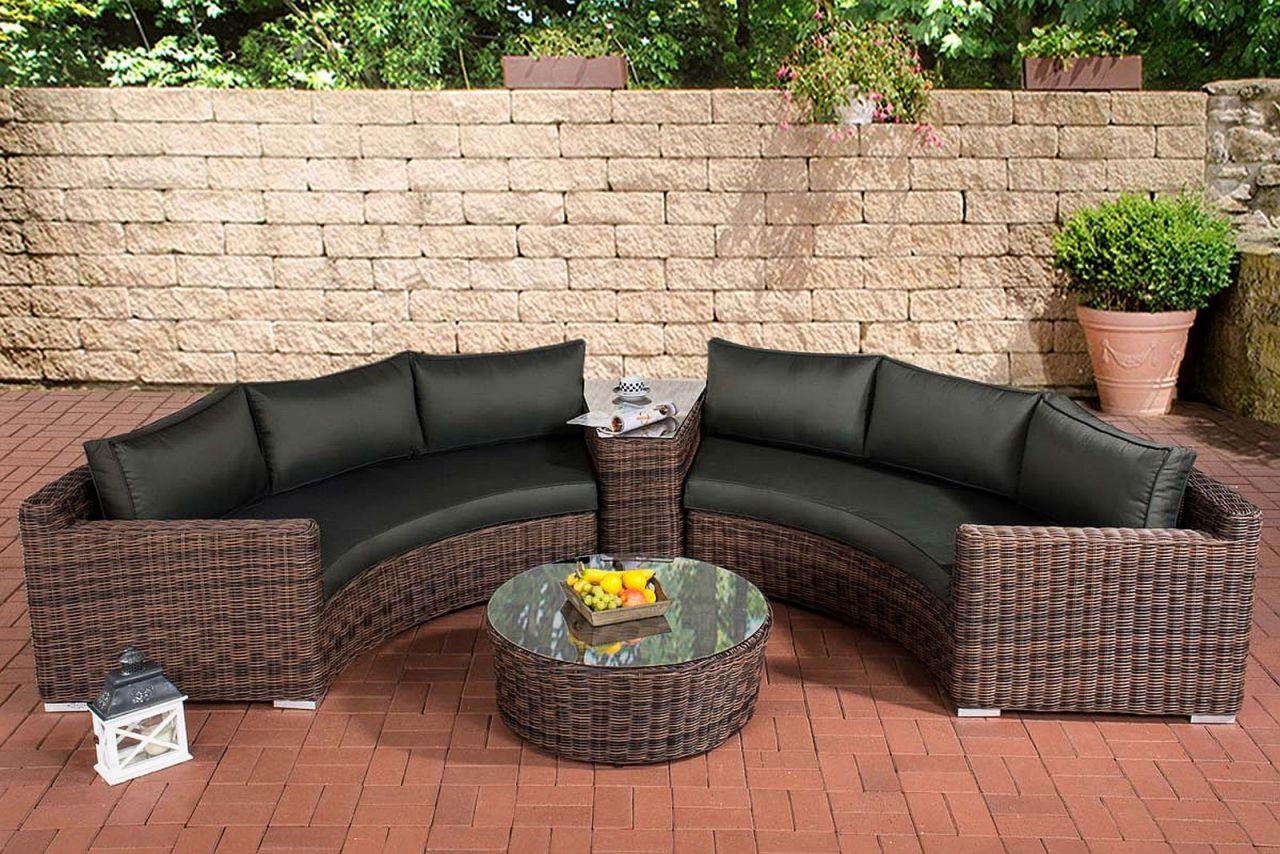 Rattan lounge halbrund  4-tlg. Lounge halbrund Gartenlounge inkl. Kissen 5 Geflechtfarben 5 ...