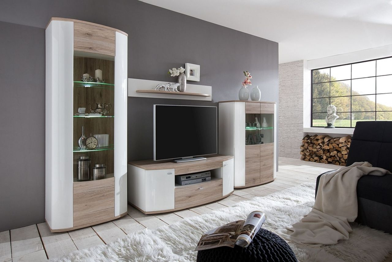 wohnwand led beleuchtung hochglanz wei 2 farben beton eiche 2 glasvitrinen tv schrank board f. Black Bedroom Furniture Sets. Home Design Ideas