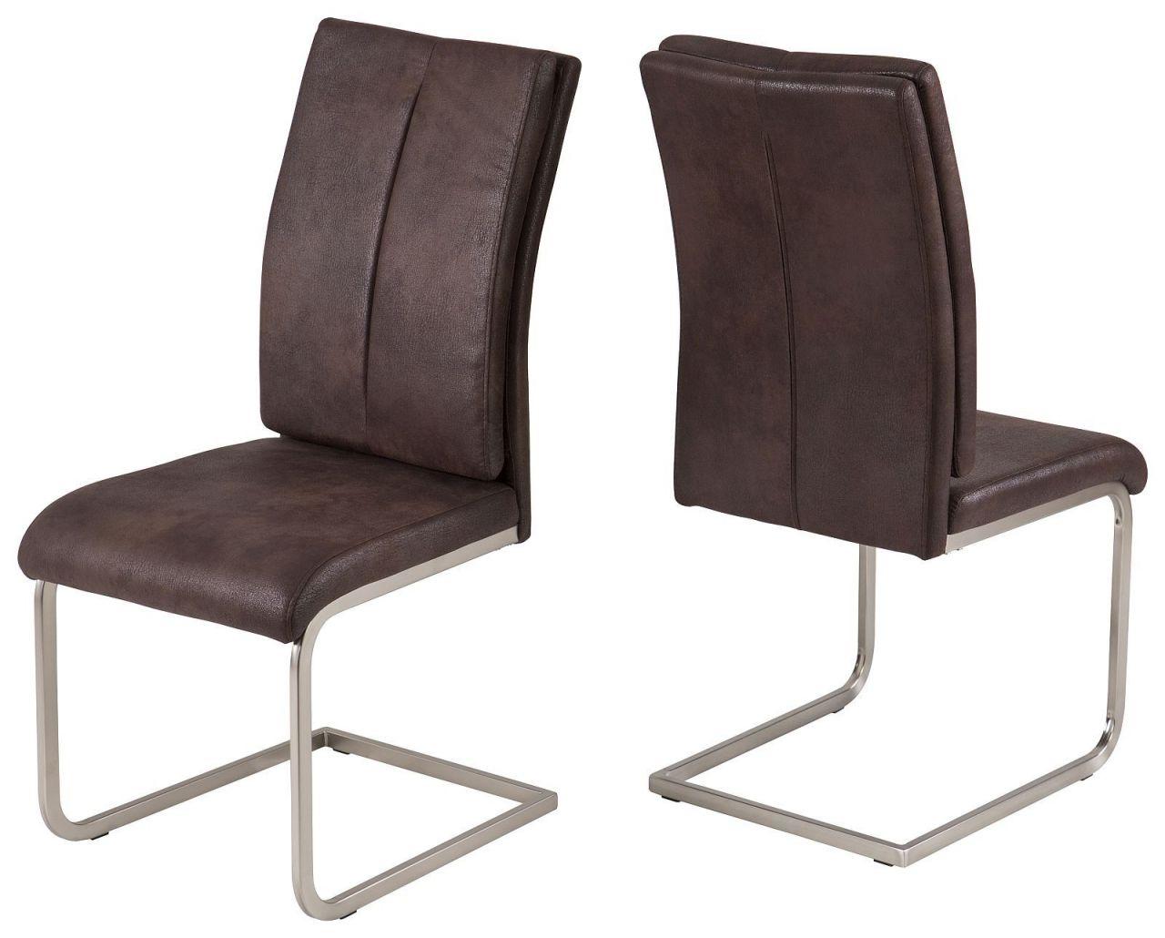 Stuhle 2er Set Stuhl Wellenunterfederung Vintage Beige Braun Freischwinger R Karo
