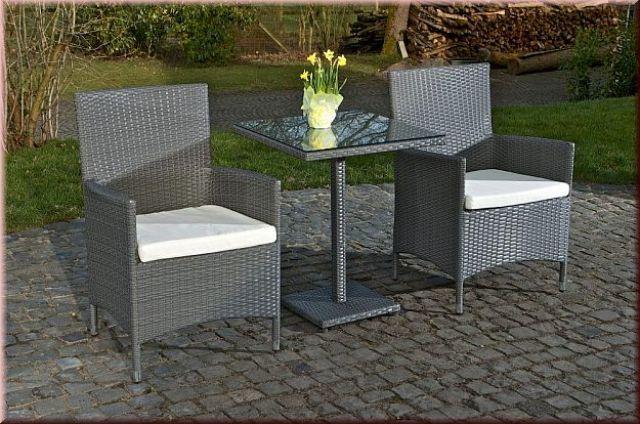 3 Tlg Sitzgruppe Gartenmöbel 2x Stuhl Tisch Kissen Rattan 4 Farben