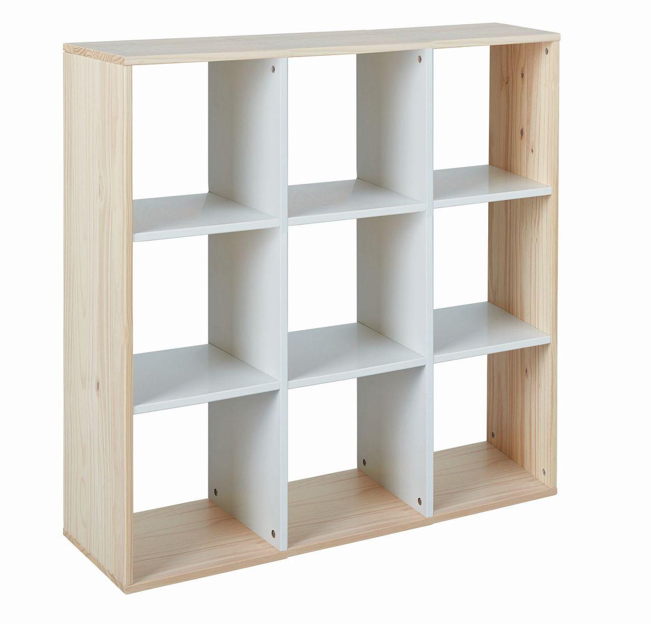 Unglaublich Raumteiler Weiß Beste Wahl Standregal Würfelform 9 Fächer Farbmix Weiß Massivholz