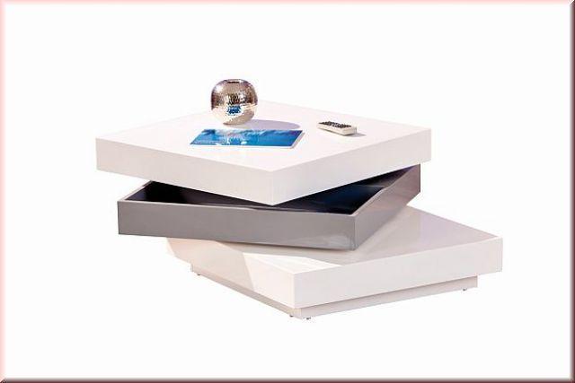 couchtisch 2 tischplatten drehbar 3 ebenen stauraum hochglanz wei grau l triomo kaufen bei eh. Black Bedroom Furniture Sets. Home Design Ideas