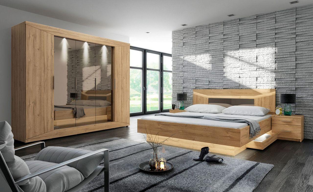 4-tlg. Schlafzimmer Doppelbett Bettkasten Schrank Nachttisch inkl.  Beleuchtung 2 Holzarten F-Roma