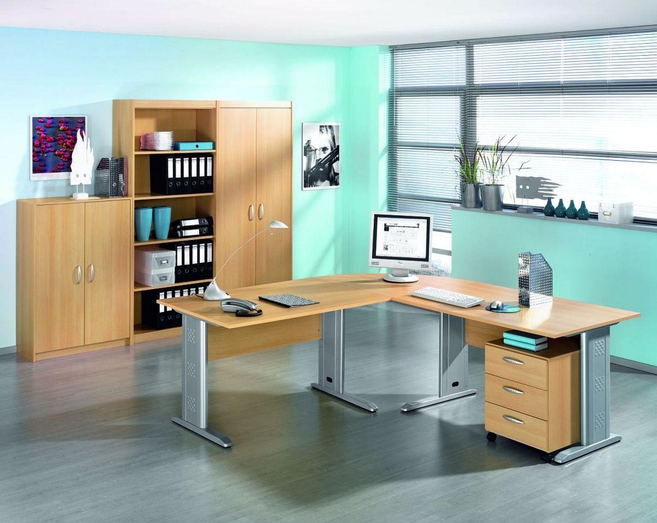 Büromöbel 7-tlg. komplett Büro Büroeinrichtung Wellemöbel 2 Farben ...