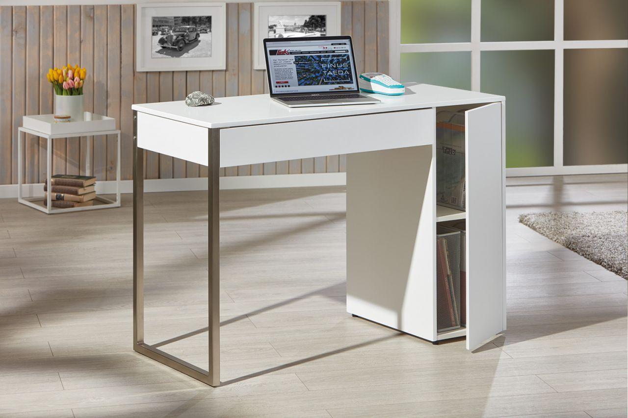 Schreibtisch 1 schublade staufach matt wei metall 110 x for Schreibtisch 2 50 meter