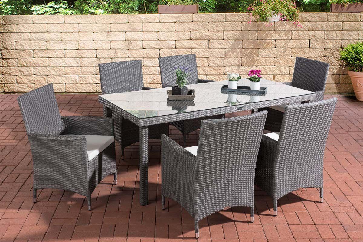 7 Tlg Dining Lounge Sitzgruppe Inkl Auflagen Polyrattan 4 Farben Cl