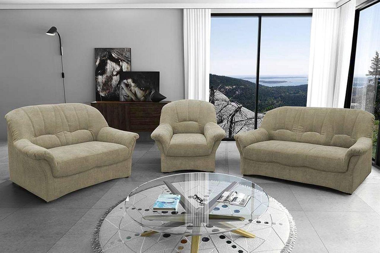 Couchgarnitur 3 teilig Polstergarnitur Federkern Sofa 2er