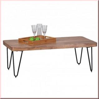 Design Couchtisch Massivholz Tischplatte 5 cm 2 Holzarten Akazie Sheesham Tischbeine Metall W-CM1511