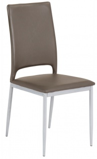 4er Set Stuhl 4-Bein-Gestell silber Polster Lederlook cappuccino Stühle R-Dan