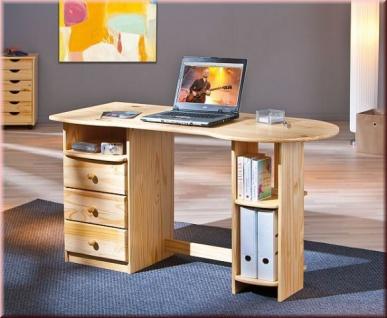 Schreibtisch Landhausstil 3 Schubladen Kiefer Massivholz 2 Farben weiß natur L-Tround