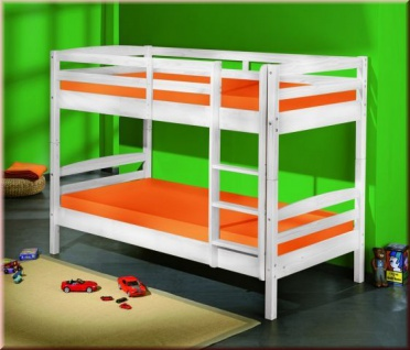Etagenbett teilbar 2x Einzelbett 2 Farben Massivholz inkl. Lattenroste Leiter L-Sali