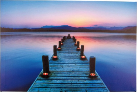 LED Bild Seemotiv Berge amberfarbige LEDs Flackerlicht 60x40 cm H-Morgenrot