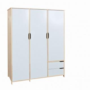 Schrank Kleiderschrank 3 Größen 2-3-türig Farb- Materialmix weiß Massivholz Milkyskin L-Gorlon-KS