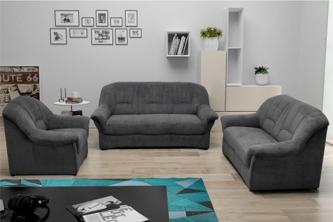 Couchgarnitur 3 teilig Polstermöbel Federkern Sofa 2er 3er Sessel Farbwahl DO-Brüssel