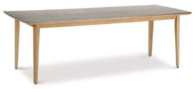 Gartentisch 2 Größen 170/230 cm Dining Tisch Materialmix Massivholz Tischplatte Beton BF-Leyla