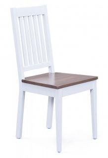 2-tlg. Stuhlset 2 Stühle Holzstuhl Massivholz 2 Farbvarianten weiß sepiabraun L-Wendy-7/8