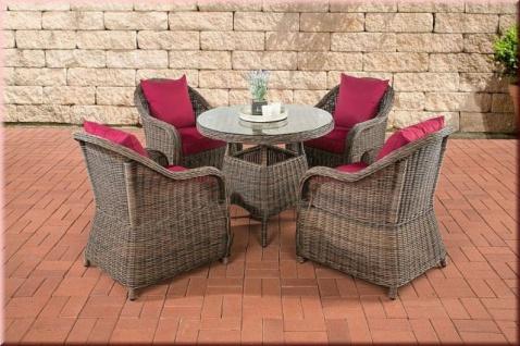 5-tlg Dining Lounge Sitzgruppe Gartensessel Kissen 5 Farben Tisch rund Rattan braun-meliert CL-Fabio