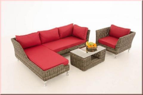 4-tlg Gartengarnitur Lounge Set Kissen 5 Farben Rattan graumeliert CL-Mayis-G