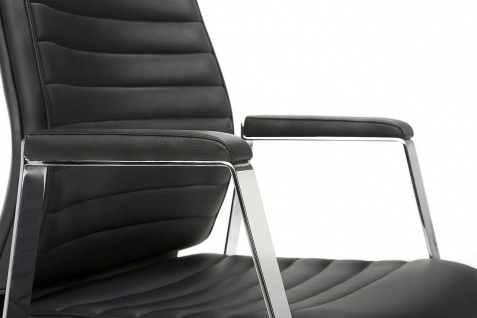 Bürostuhl Leder schwarz Drehsessel Synchronmechanik Gewichtseinstellung M-Chef - Vorschau 3
