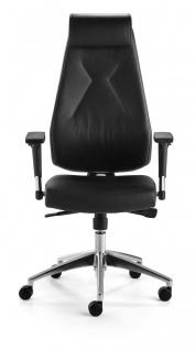 Bürostuhl Echt Leder schwarz Armlehnen höhenverstellbar Kopfstütze Synchronmechanik M-Best - Vorschau 2