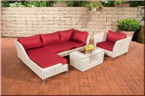 4-tlg Lounge Gartengarnitur Sitzgruppe Kissen 5 Farben Rattan perlweiß CL-Mayis-W