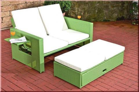 Lounge Sofa ausziehbar Hocker Daybed Rattan 7 Farben CL-Andy - Vorschau 2