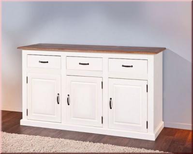 Sideboard Kommode französischer Landhausstil Kiefer Massivholz alt-weiß sepia braun L-Calabria-3.2