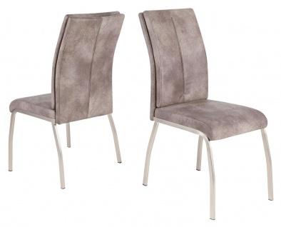 4er Set Stuhl 4-Bein-Gestell Wellenunterfederung Stühle Vintage 2 Farben beige braun R-Karo-2