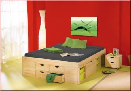 Bett Doppelbett Komforthöhe 5 Größen Massivholz natur Lattenrost Nachttische Schubboxen L-Chars