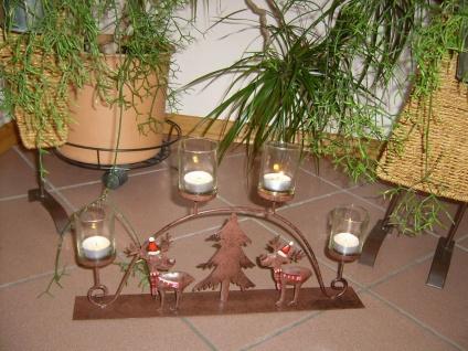 Teelichthalter Rentier Metall braun 4x Glas Schwibbogen Rost-Optik außen Weihnacht F-Rudolf