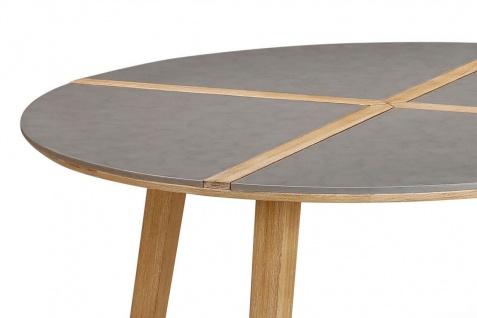 Exklusiver Dining-Tisch rund 140 cm Gartentisch Massivholz Tischplatte Beton Holzintarsie BF-Bonito - Vorschau 4