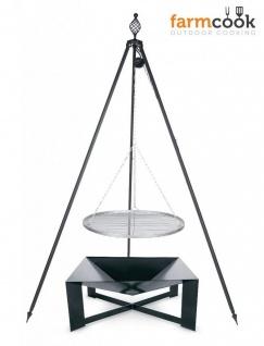 3-tlg. Dreibeingrill inkl. Feuerschale Rost Edelstahl Stahl 3 Größen H 210 cm Schwenkgrill N-DORF