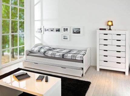 Bett ausziehbar Jugendbett inkl. Lattenroste 2 Farben 3 Größen Massivholz weiß natur L-Lione