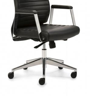 Bürostuhl Leder schwarz Drehsessel Synchronmechanik Gewichtseinstellung M-Chef - Vorschau 5