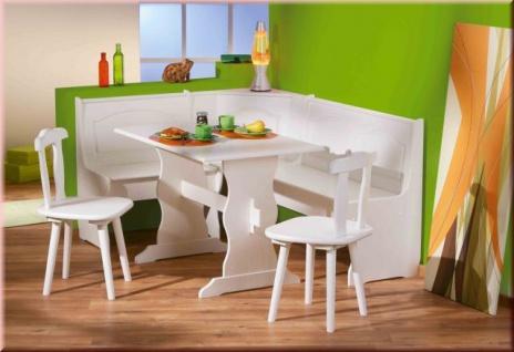 Eckbankgruppe 4-tlg Sitzgruppe Landhausstil Eckbank Stühle Tisch Massivholz 2 Farben L-Doplau