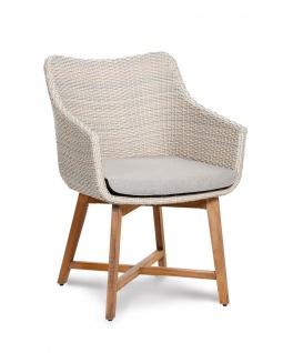 Dining Sessel inkl. Polster Gartensessel Geflecht grau-meliert Teakholzgestell BF-Palma
